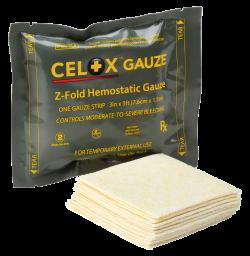 Celox z-fold gauze - blood clotting dressing
